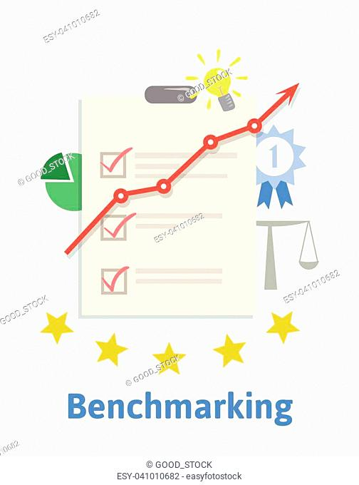 Benchmarking concept illustration. Comparing one's business processes and performance metrics to best practices from other companies