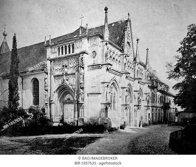 Early autotype Hautecombe Abbey, Rhône-Alpes, France, historical picture, 1884