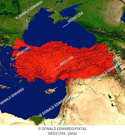 Highlighted satellite image of Turkey