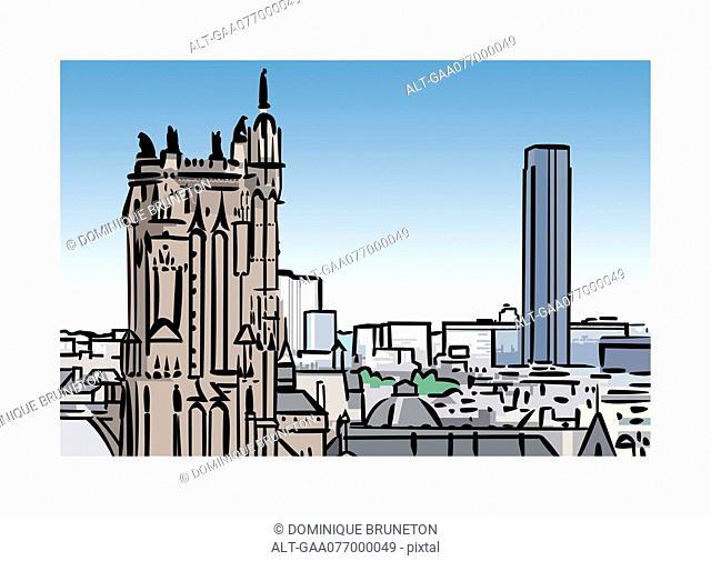 Illustration of Tour Saint-Jacques and Tour Montparnasse in Paris, France