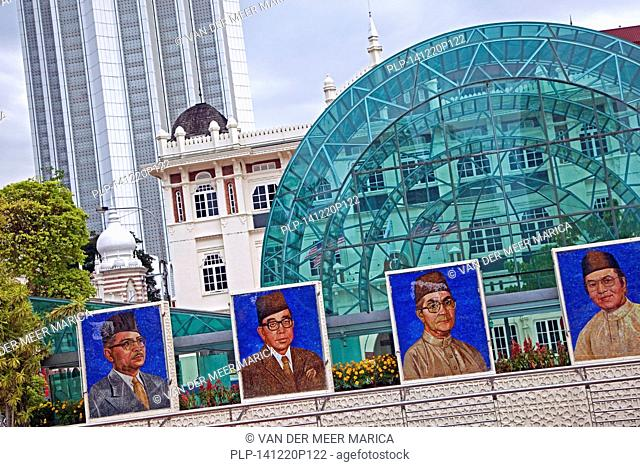 Mosaics show the portraits of past and present Malaysian prime ministers at Merdeka Square in the city Kuala Lumpur, Malaysia
