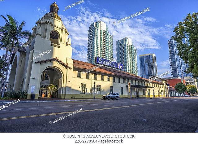 The Santa Fe Depot train station in downtown San Diego, California