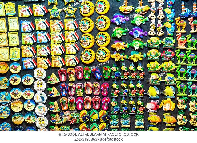Sharm El-Shaikh, Egypt - November 2, 2018:- photo for Plastic medals shop In the Egyptian city of Sharm el-Sheikh, its shows Some Egyptian Plastic medals Which...