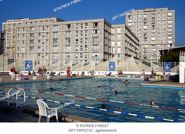 LE HAVRE WATER SPORTS CENTER IN FRONT OF BUILDINGS BY THE ARCHITECT AUGUSTE  PERRET LISTED AS WORLD HERITAGE UNESCO, LE HAVRE, NORMANDY, SEINE MARITIME.