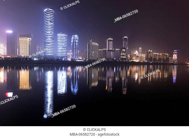 Nanchang skyline at night as seen from the east side of the city, Nanchang is the capital of Jianxi province in China
