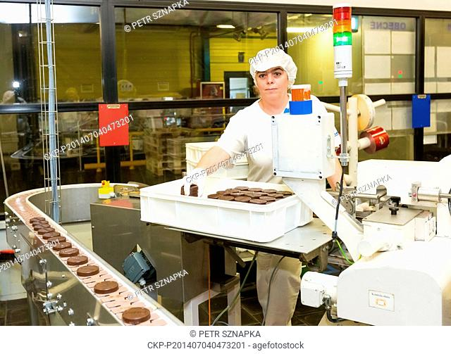 Production line of the American conglomerate Mondelez International is seen in Opava, Czech Republic, July 7, 2014. Construction of a new factory for biscuits...