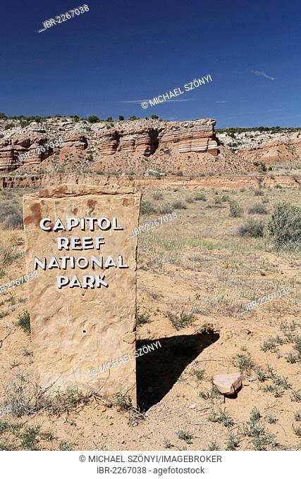 Signage for Capitol Reef National Park, Notom-Bullfrog Road, Strike Valley and Waterpocket Fold, Utah, USA