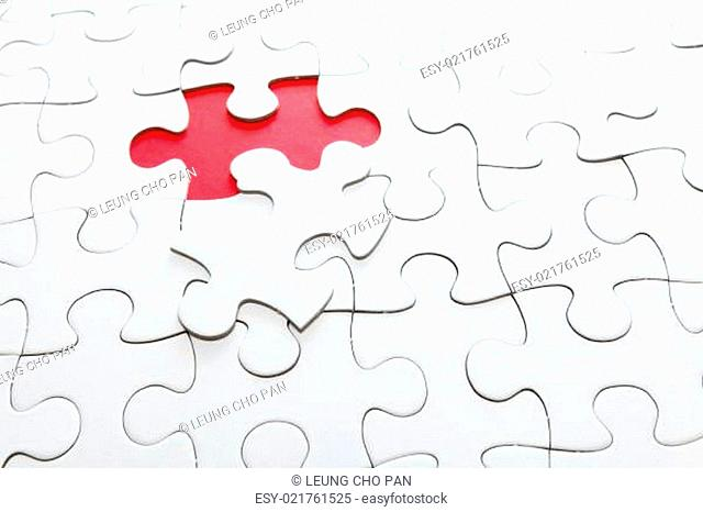 Missing jigsaw piece in red color