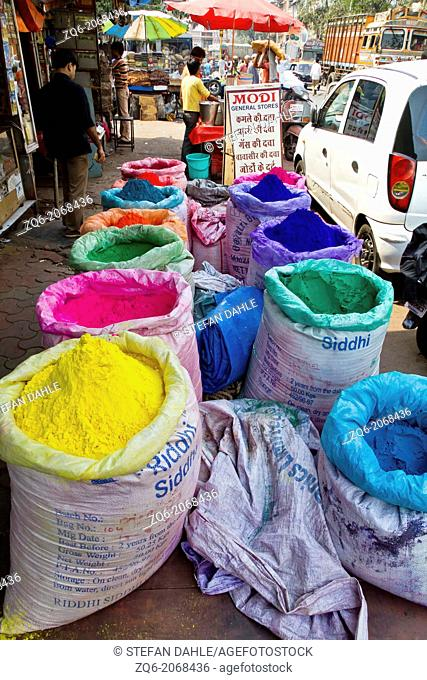 Bags with colorful Powder in Mumbai, India