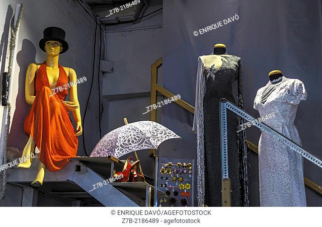 View of clothing in a back of shop, Madrid city, Spain