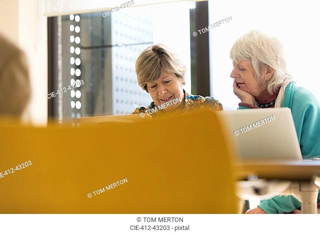 Senior businesswomen working at laptops in conference room meeting
