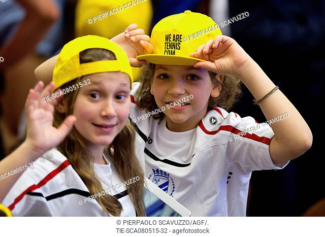 Children during the audience, Paul VI Hall, Vatican, Rome, ITALY-08-05-2015 Journalistic use only