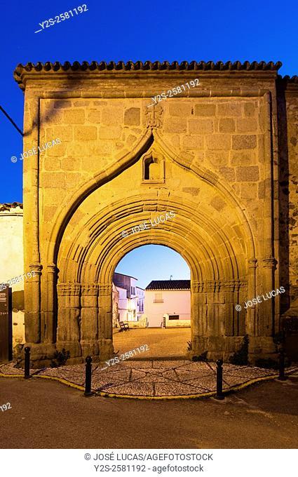 Former entrance of the Convento de las Franciscanas (year 1467), Cumbres Mayores, Huelva province, Region of Andalusia, Spain, Europe