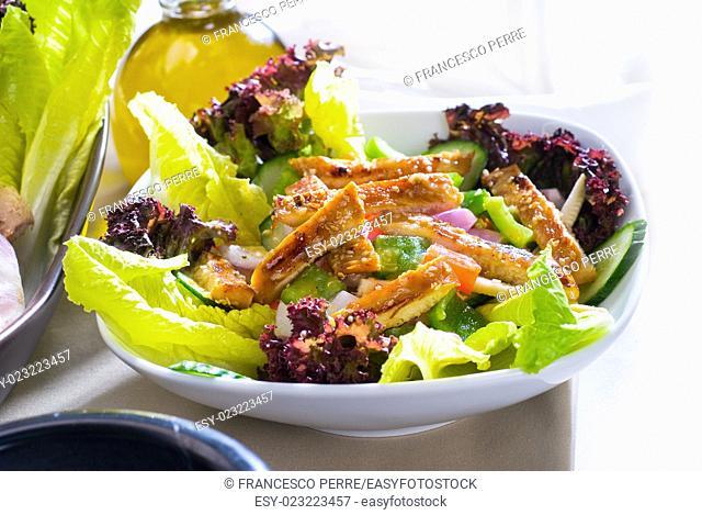 fresh colorfull sesame chicken salad close up