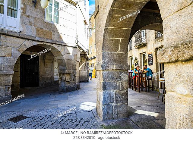 The lively streets in the old town. Plaza del Campo. Lugo, Galicia, Spain, Europe