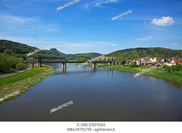 View, Elbe (river), Elbbrücke, Lilienstein, Bad Schandau