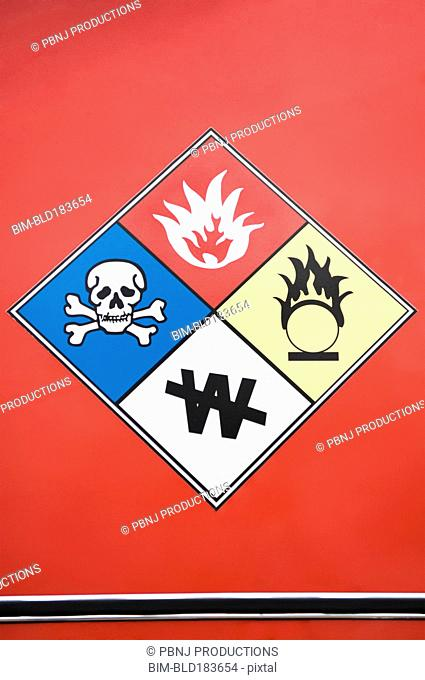 Close up of hazard warning symbols