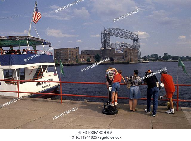 Duluth, MN, Minnesota, Lake Superior, View of Vista Fleet Harbor Cruise on Duluth Harbor and Aerial Lift Bridge on Lake Superior in Duluth