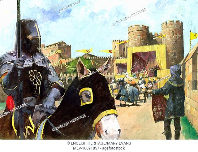 Kenilworth Castle, Warwickshire. Reconstruction drawing by Ivan Lapper of a knight on horseback at a jousting tournament with the castle in the distance