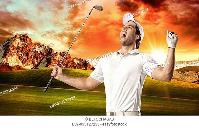 Golf Player in a white shirt celebrating, on a golf course