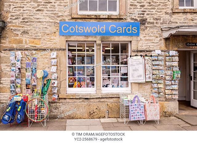 The Cotswold Cards card shop store at Stow-on-the-Wold , Cheltenham , Gloucestershire , England , Britain , Uk