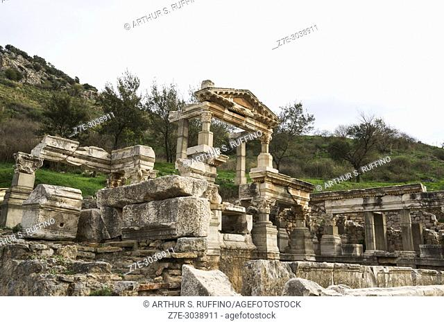 Fountain of Trajan. Ephesus, UNESCO World Heritage Site, Selçuk, Izmir Province, Ionia Region, Turkey, Eurasia