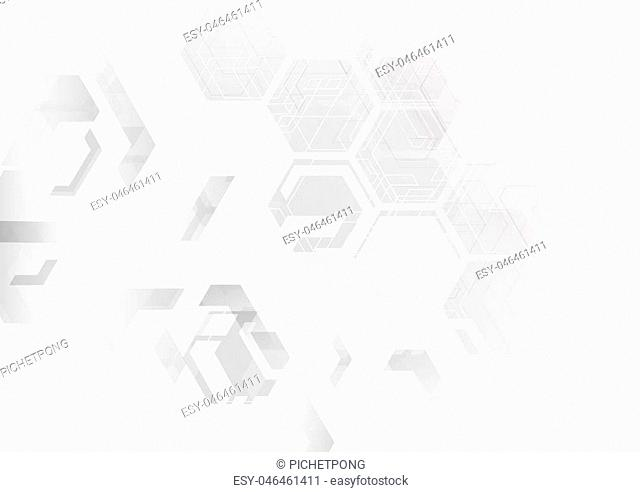 futuristic computer concept background, sci-fi illustion in the black and white tone abstract background, white polygon hi-tech simply interface