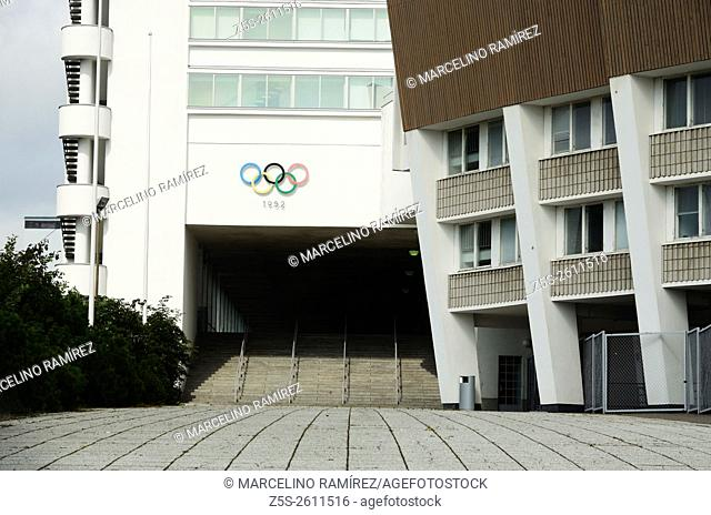 Olympiastadion - Olimpic stadium - and tower, located in the Toolo district . Centre of activities in the 1952 Summer Olympics. Helsinki. Finland