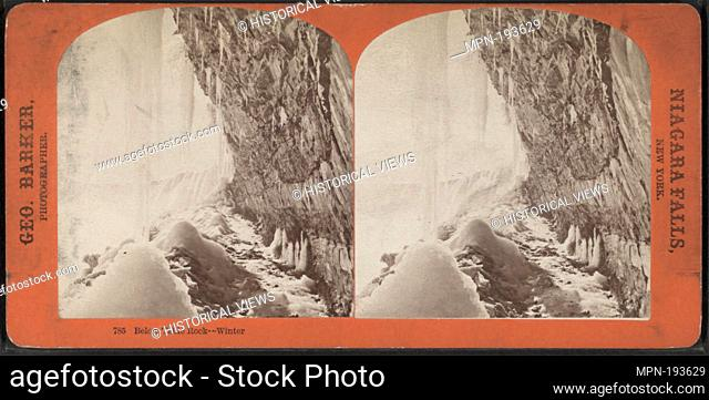 Below Table Rock, winter. Barker, George (1844-1894) (Photographer). Robert N. Dennis collection of stereoscopic views United States States New York Niagara...
