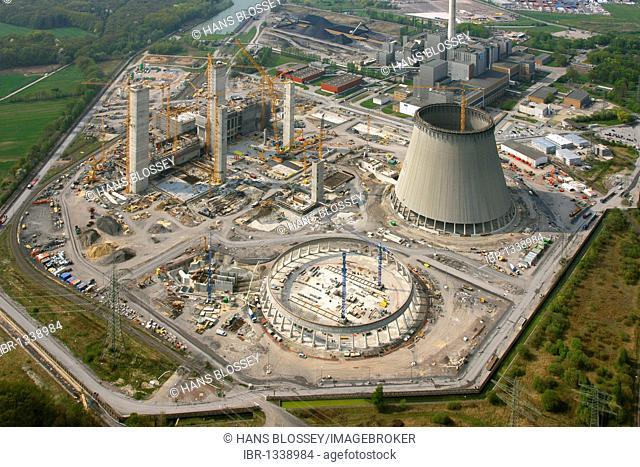 Aerial photo, Kraftwerk Westfalen power plant, power plant construction, coal power plant, RWE-Power, Datteln-Hamm-Kanal canal, Uentrop, Hamm, Ruhrgebiet region