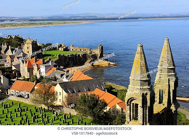 The cathedral and city from the top of St Regulus tower. St Andrews. Scotland. Great Britain