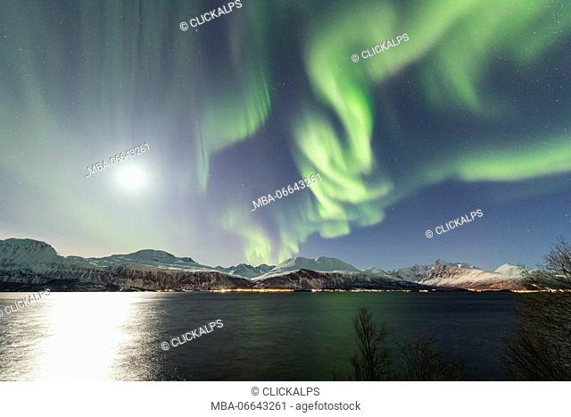 The Northern Lights and moon are reflected in the cold sea in the polar night Manndalen Kafjord Lyngen Alps Tromsø Norway Europe