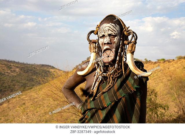 A decorated Mursi woman in Mago National Park, southern Ethiopia