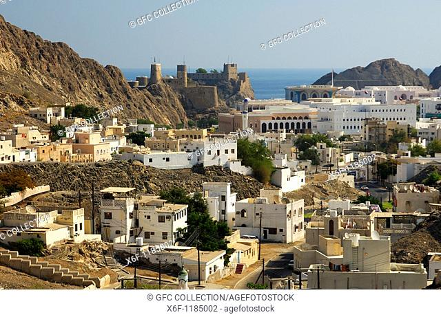 View at the historic centre of Muscat with Fort Mirani in the back, Sultanate of Oman