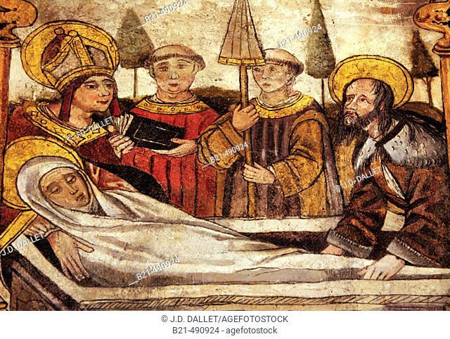 Detail of the original altar (XVc.); at the Santa Maria Magdalena church, at Cala. Huelva province. Spain