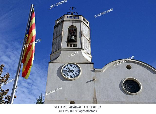 Catalan flag, church of Vallgorguina, Catalonia, Spain