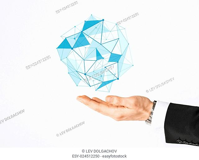 people and business concept - close up of businessman hand showing virtual polygonal projection