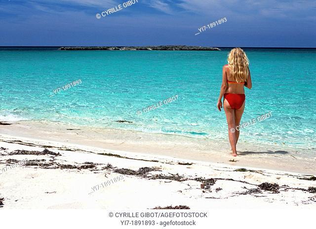 Blond woman on tropical beach, Cayo Santa Maria, Cuba