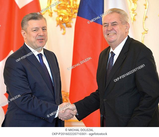 Czech President Milos Zeman (right) meets Georgian Prime Minister Giorgi Kvirikashvili (left) in Prague, Czech Republic, February 22, 2016