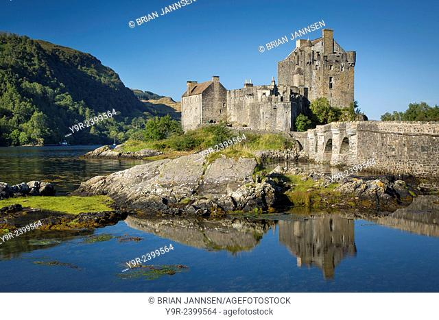 Early morning over Eilean Donan Castle along Loch Duich, Dornie, Highlands, Scotland