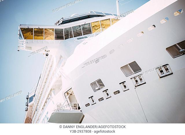 Detail of a cruise ship in San Diego Bay