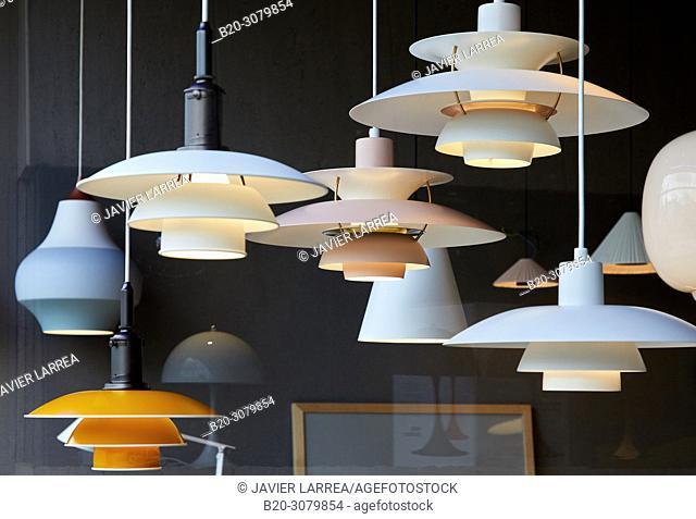 Lamps, Interior lighting store, Zumarraga, Gipuzkoa, Basque Country, Spain, Europe
