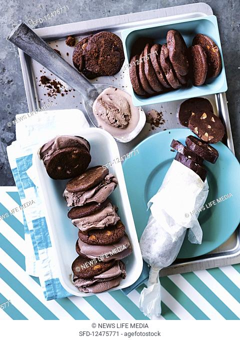 Ready-bake chocolate cookie ice cream sandwiches