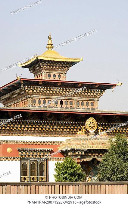 Low angle view of a temple, Bhutan Temple, Bodhgaya, Gaya, Bihar, India