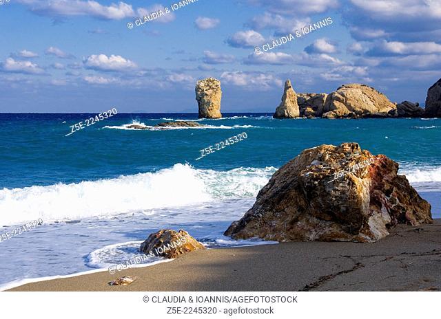 Rocky beach at the Aegean coast of Pelion Peninsula, Thessaly, Greece