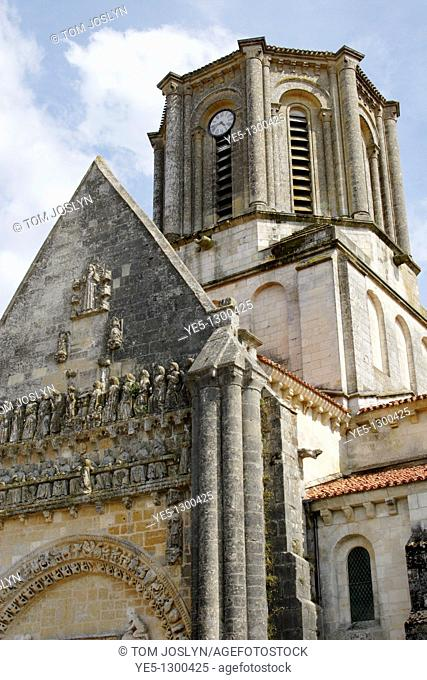 View of Notre Dame church, Vouvant , Pays de la Loire, Vendee , France