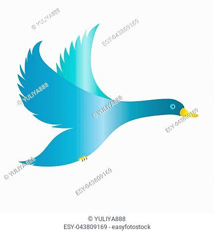 Flying blue duck, bird, glitter