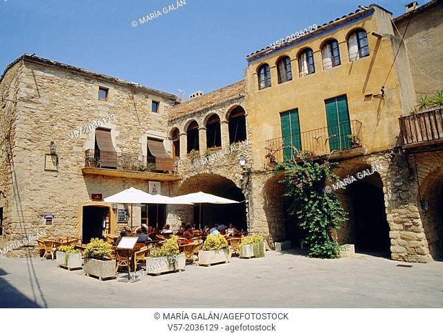 Terrace in the street. Peratallada, Gerona province, Catalonia, Spain
