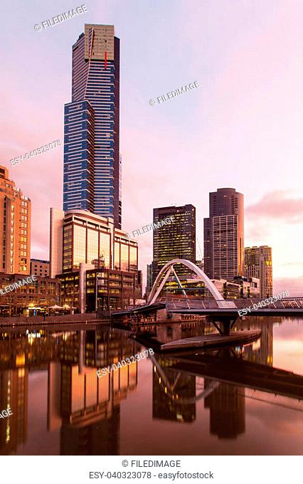 Melbourne's famous skyline from Flinders St Station towards Southbank and Eureka Tower in Melbourne, Victoria, Australia