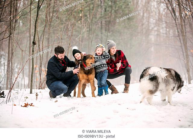 Family with pet dogs on walk in snow landscape